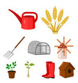 farm set icons in cartoon style big collection of vector image