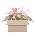 gift cardboard box with beautiful spring doodle vector image vector image