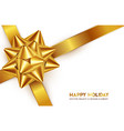gold bow for packing gifts isolated vector image