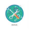 Hammer and wrench icon with long shadow on white vector image