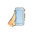 hand holding smartphone with blank touchscreen in vector image