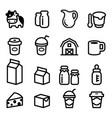 milk icons vector image vector image