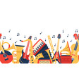 musical instruments banner music guitar violin vector image