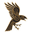 odins raven hand-drawn in celtic style vector image