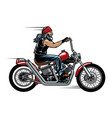 old man biker riding chopper motorcycle vector image vector image