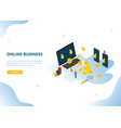 online business income or profit with isometric vector image
