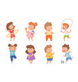 overweight vs sporty children confused fat kids vector image vector image