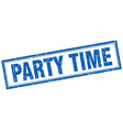 party time blue grunge square stamp on white vector image vector image