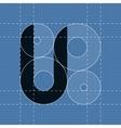 Round engineering font Symbol U vector image