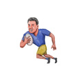 Rugby Player Running Ball Caricature vector image vector image