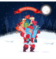 santa holding stack of present boxes merry vector image