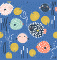 seamless childish pattern with funny fish vector image vector image
