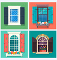 set of detailed various colorful windows with vector image
