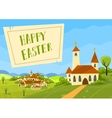 spring Easter card with village and church vector image