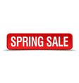 Spring sale red 3d square button isolated on white vector image vector image