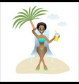 summer banner beautiful woman on vacation on beach vector image