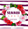 summer sale round background with tropical flowers vector image vector image