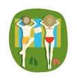 Sunbathing people vector image