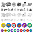supermarket and equipment flat icons in set vector image