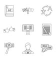 Translation icons set outline style vector image vector image