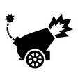war cannon firing cannonball icon vector image vector image