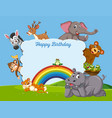 wild animal on birthday template vector image