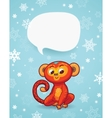 Winter holiday background with cartoon monkey and vector image vector image