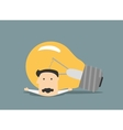 Flat businessman pressure with light bulb vector image