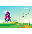 A spaceship near the windmills vector image vector image