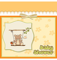 baby greeting card with teddy bear vector image