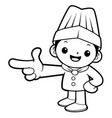 black and white happy cook mascot direction vector image vector image