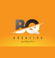 bq b q letter modern logo design with yellow vector image