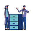 business man and woman in the office vector image