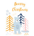 christmas greeting card kids scandinavian style vector image vector image