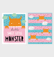 cute hand drawn monster set vector image