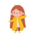 cute little girl long hair on white background vector image vector image