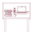 dark red line contour of desk home office basic vector image vector image