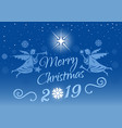 design with christmas angel on a blue background vector image