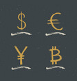 dollar euro yen and bitcoin sign icon brush vector image