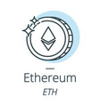 Ethereum cryptocurrency coin line icon of virtual