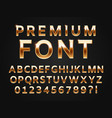 glossy gold typeface shine alphabet letters vector image