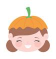 happy halloween cute girl with hat pumpkin face vector image
