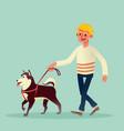 happy man walking with his dog cartoon vector image