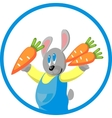 Hare gift carrot in color 10 vector image vector image