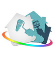 house painting roller and brush in hand symbol vector image vector image