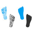 human footprints mosaic of service tools vector image