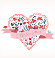 i love you with heart romantic card vector image vector image