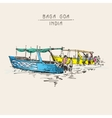 India Baga Beach sketch drawing with two boats vector image vector image