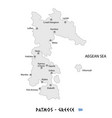 island of patmos in greece white map vector image vector image