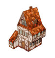 isometric house old european mansion vector image